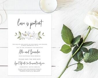 Postponement Invitation, Wedding Postponement Invite, Change the Date, Love is Patient Card