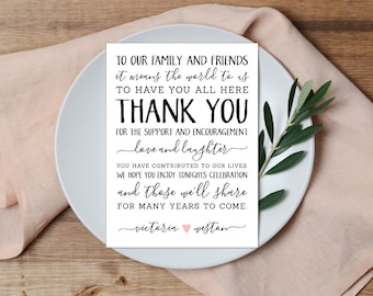 Thank You Place Setting, Wedding Thank You Card, Wedding Table Setting Card, Thank You Note
