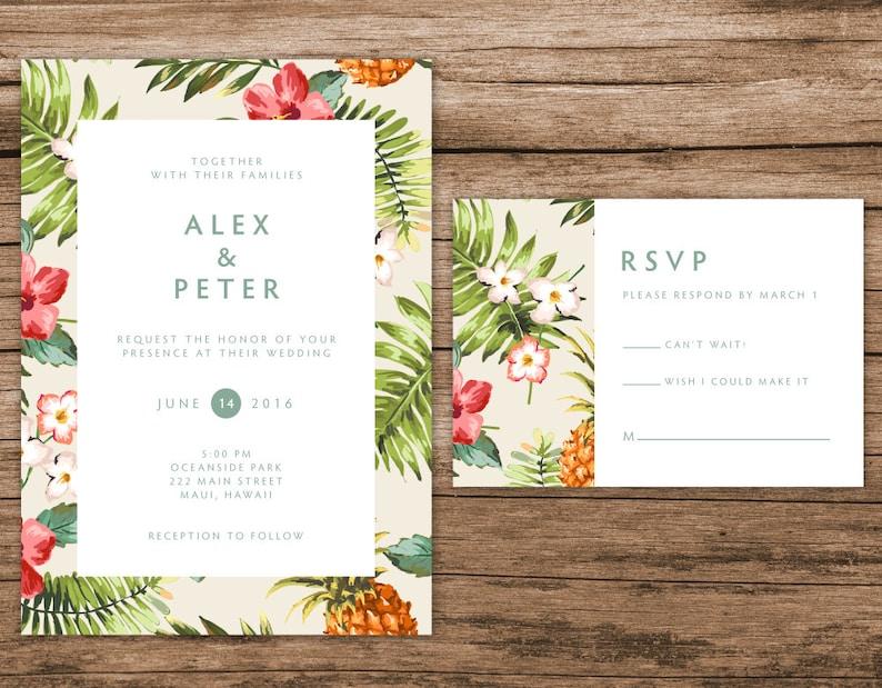 Tropical Wedding Invitation Hawaiian Wedding Invitation image 0