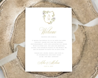 Traditional Thank You Place Setting, Wedding Thank You Card, Guest Thank You Card, Thank You Note, Gold Crest, Welcome Place Card