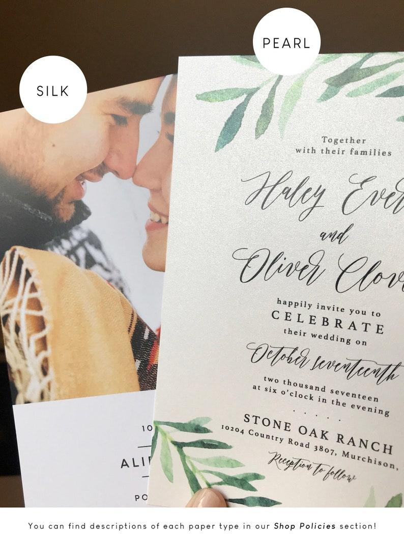 Wedding Invitation Suite Monogram Invitation Modern Handwritten Script Invitation Grey Leaf Outline Wedding Invitation
