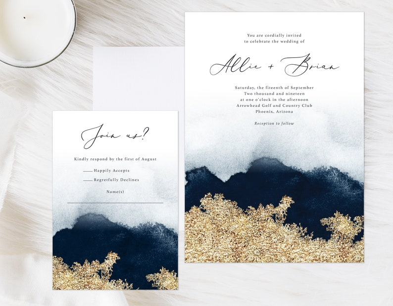 Navy Blue and Gold Watercolor Invitation Minimalist Wedding Invitation Modern Wedding Invitation Moody Watercolor Invite