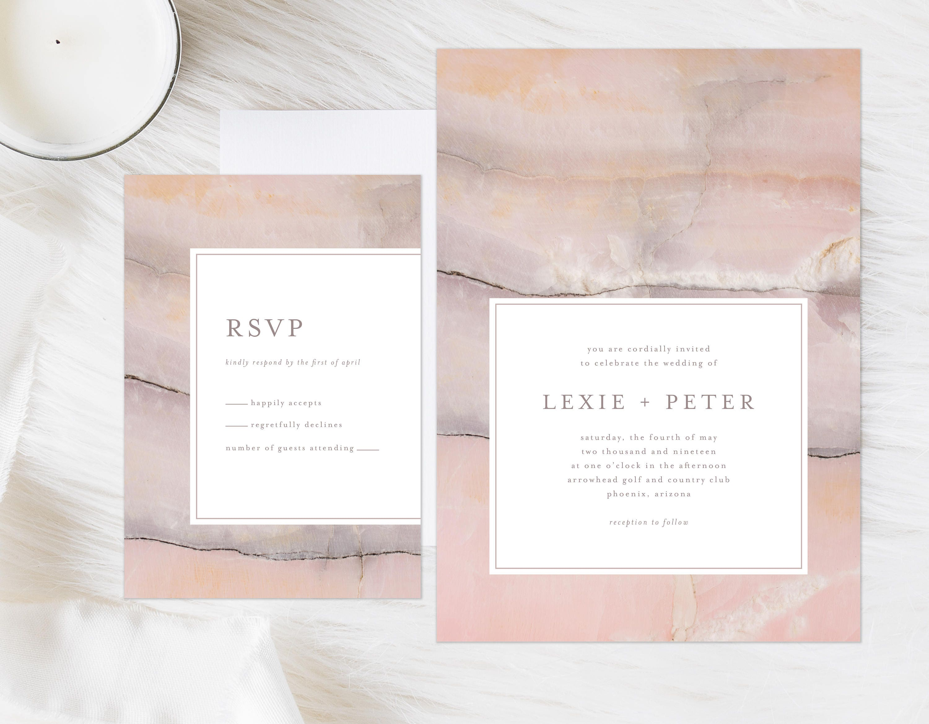 Watercolor Marble Invitation Pink Watercolor Marble Modern