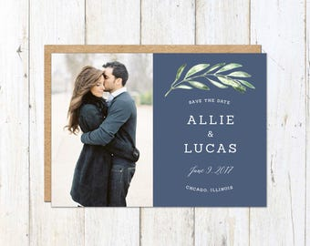 Photo Save the Date, Slate Blue Save the Date, Olive Branch Save the Date