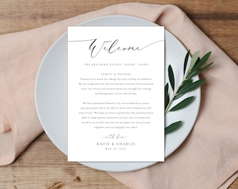Thank You Place Setting, Wedding Thank You Card, Guest Thank You Card, Thank You Note, Welcome Place Card