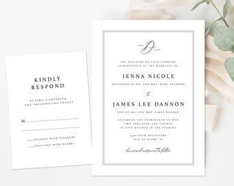 Formal Wedding Invitation, Black and White Wedding Invitation, Minimalist Invitation, Monogram Wedding Invitation