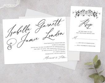 Black and White Wedding Invitation, Formal Wedding Invitation, Big Script Invitation, Modern Script Wedding Invitation