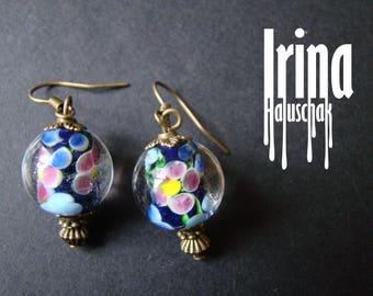 Blue floral lampwork beads earrings Bead earrings Beaded earrings Lampwork earrings with blue and pink flowerls Boho style glass earrings