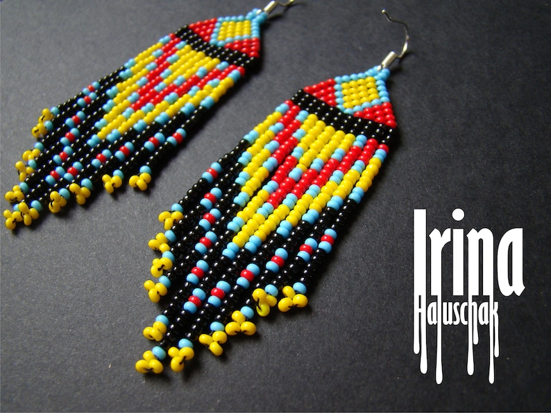 5b08e3dc175f3 Native American Style Beaded Earrings seed bead errings boho earrings red  native style earrings fringe earrings