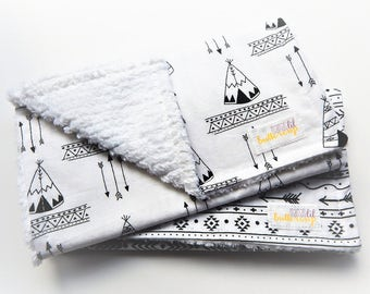 Gender Neutral Burp Cloth Set- Set of 2, tepee, camping, baby shower gift, girl burp cloth, boy burp cloths