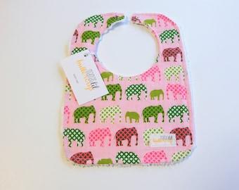 Elephant bib/ baby girl bib/ pink elephant/ elephant baby shower gift/baby elephant bib /elephant baby/elephant baby gift/pink elephant gift