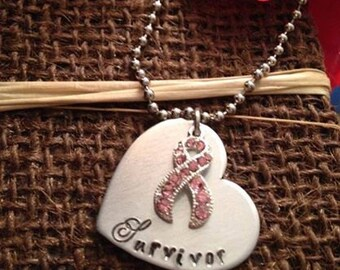 Hand stamped survivor necklace breast cancer