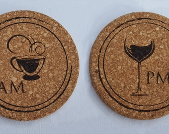 Round Cork Coasters Coffee Front and Wine Back Set of 4