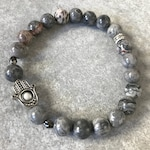 Gray Jasper Hamsa Stretch Bracelet