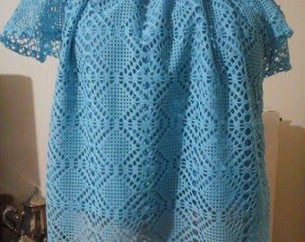 Pretty halter top crocheted in turquoise lace