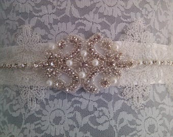Pretty off white satin wedding belt