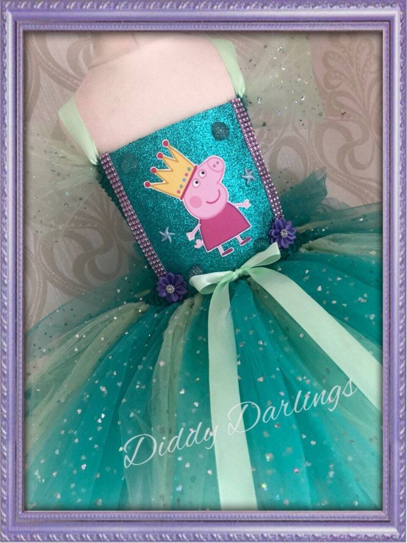 245d8e056882 Sparkly Peppa Pig Tutu Dress. Teal Mint Green Tutu Dress. | Etsy