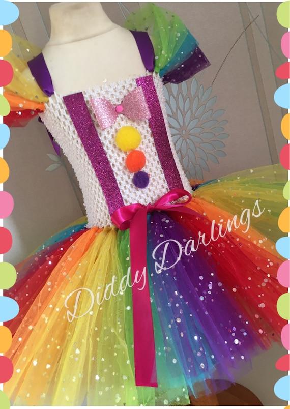 Clown Tutu Kleid Clown Regenbogen inspiriert handgefertigte