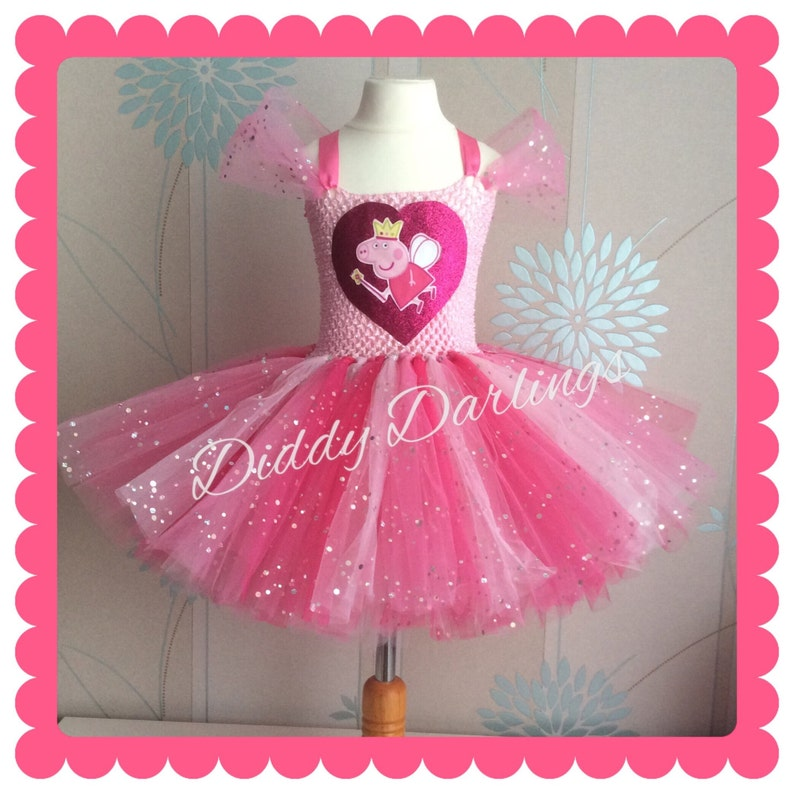0a1a3d5a53b8 Sparkly Peppa Pig Tutu Dress. Inspired Handmade Tutu Dress. | Etsy