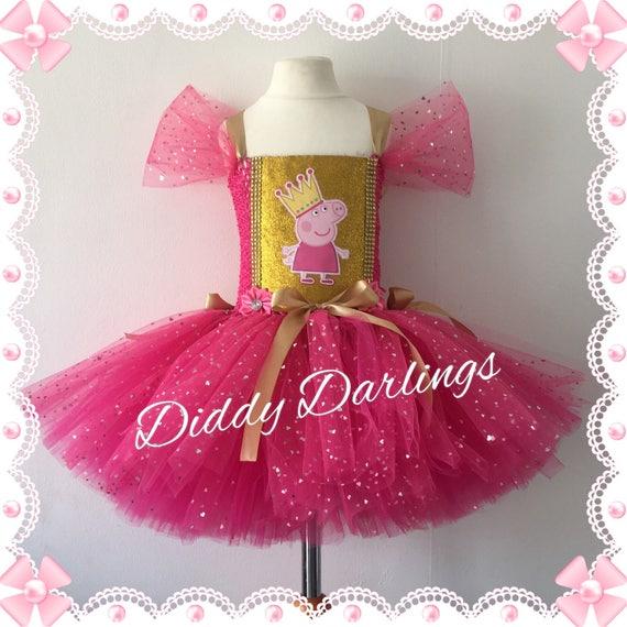Sparkly Peppa Pig Tutu Dress. Pink And Gold Tutu Dress. Peppa   Etsy