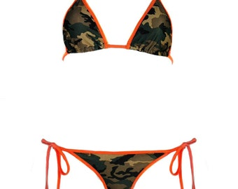d0959277647db Camouflage Bikini Top w  Orange Hot Pink Red Trim Sexy Army