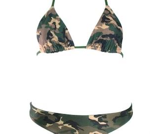 8fbe1d3e20 Reversible Camouflage Bikini Set - Forest Green Bikini - Cheeky Camo Bikini  Bottom - Adjustable Side Ties - Sexy Skimpy Camouflage Bikini