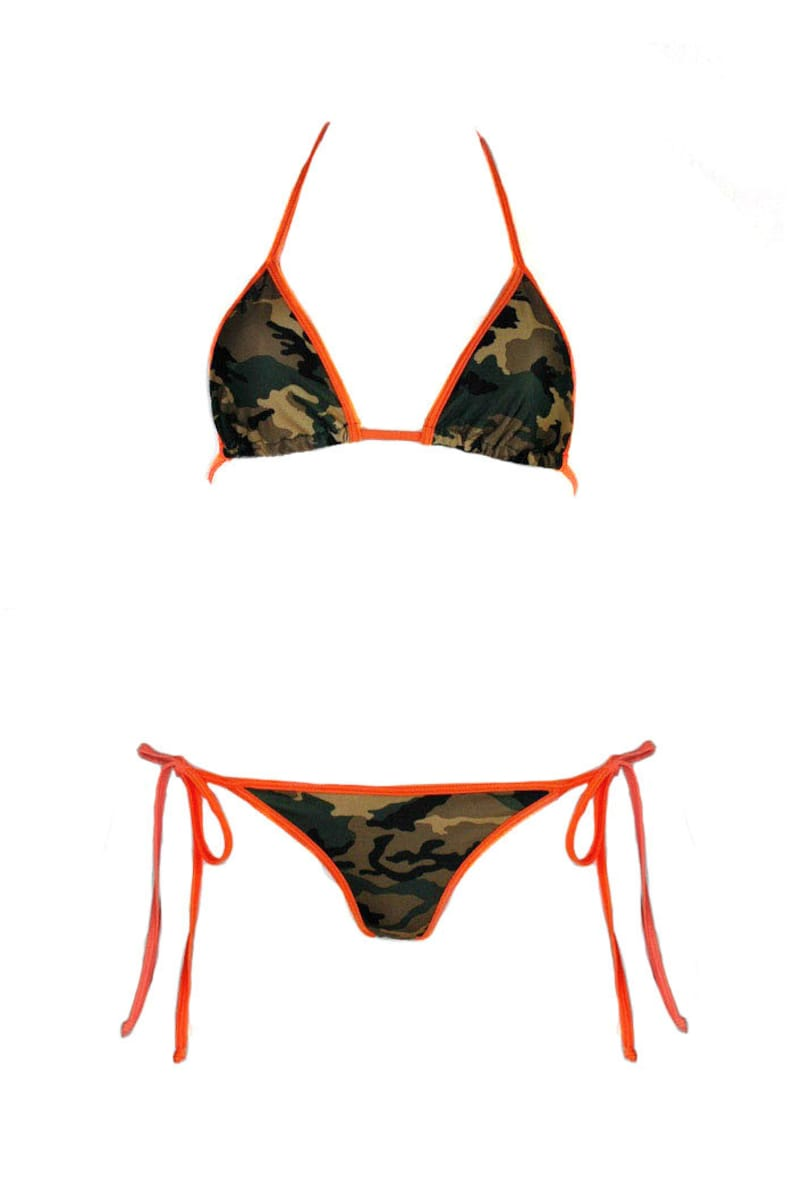 e3053faa9a300 Camouflage Bikini Scrunch Bottom with Orange Hot Pink or Red