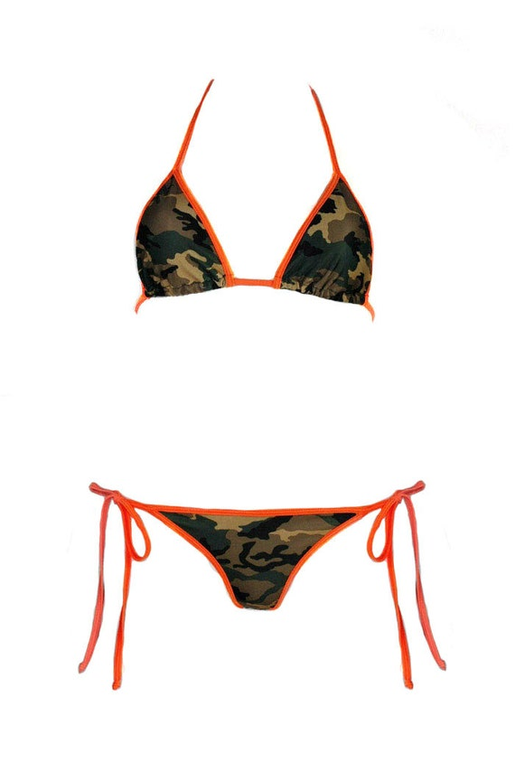 811b79b59a Camouflage Bikini Top w  Orange Hot Pink Red Trim Sexy Army