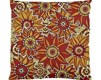 Outdoor Throw Cushion Pillow Covers Case SunFlower Grande Retro Orange Yellow