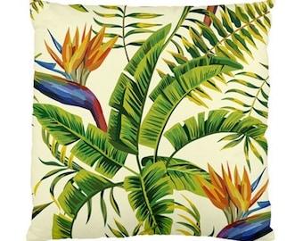 Outdoor decor Cushion throw Pillows decorative Covers Case Vintage Retro Bird of Paradise Strelitzia
