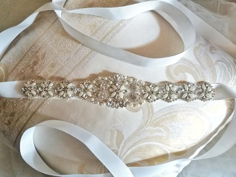 Handmade Silver Bridal Sash Belt with rhinestones and pearls