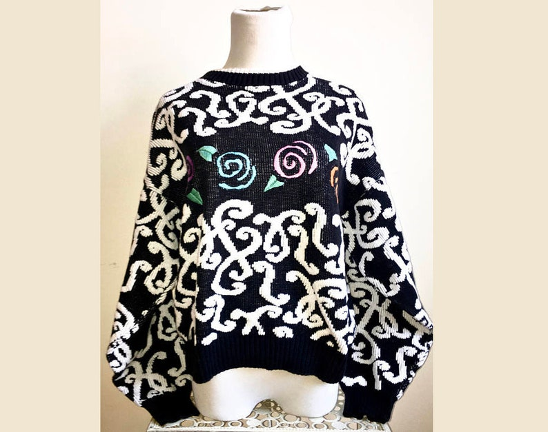 Vintage *Ugly* Sweater  80s Style Streetwear  Pullover Winter SweatShirt  Warm Knit Cold Weather Sweater  Crazy 1980s Rose Pattern