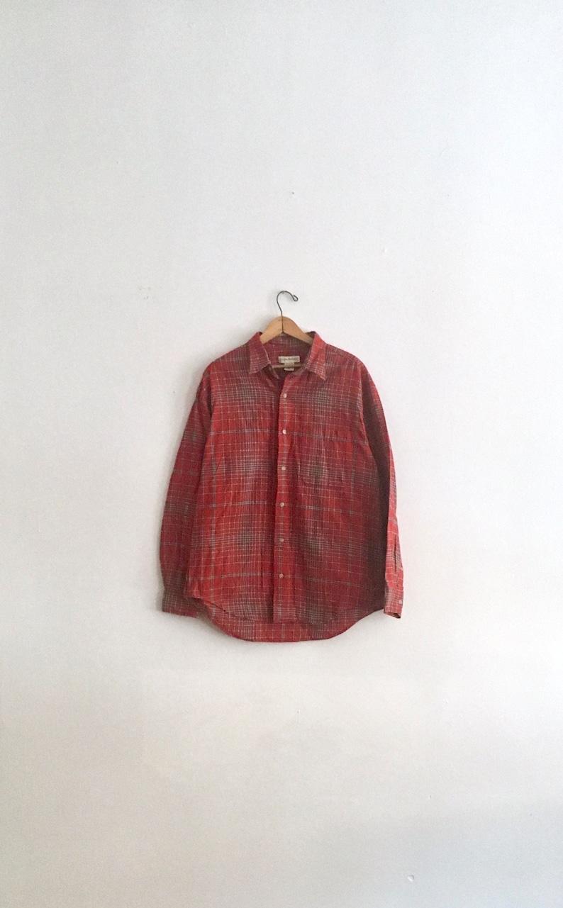 b857b3f8 Cozy Vintage Banana Republic Flannel in Red // Classic   Etsy