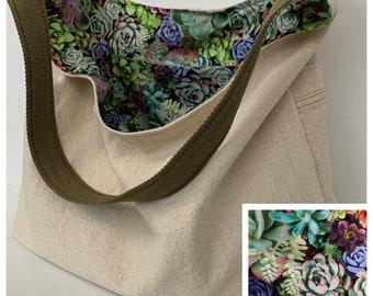 Reusable Bag Cotton Shopping bag Hobo Style Bag Canvas Purse Linen Over the Shoulder Bag Over the Shoulder Purse Washable Shoping Bag