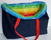 Reusable Shopping Bag, Cotton Shopping Bag, Washable Grocery Bag, Reversible Shopping Bag, Denim Shopping Bag, Foldable Cloth Grocery Bag,