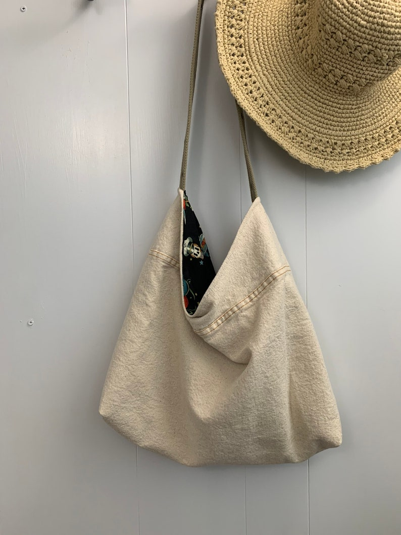 Washable Shoping Bag Reusable Bag Cotton Shopping bag Hobo Style Bag Canvas Purse Over the Shoulder Purse Canvas Over the Shoulder Bag