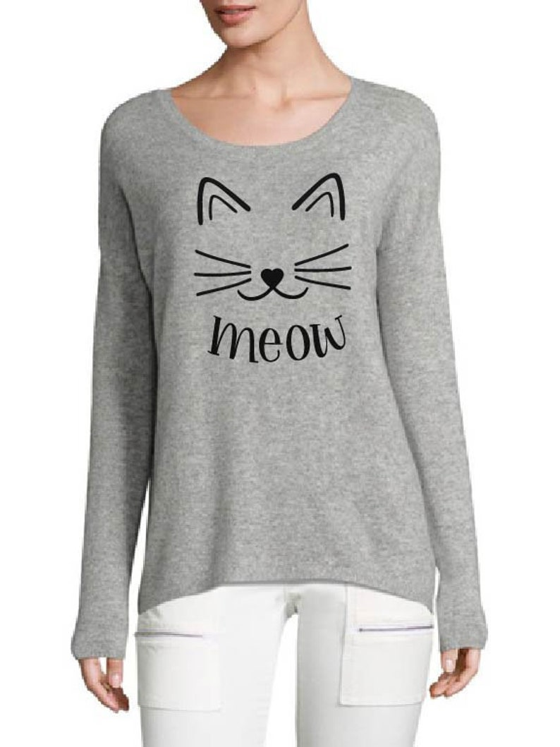 Meow Cat Face  T-Shirts  Tank Top  Iron On  Cats  Pets  image 0