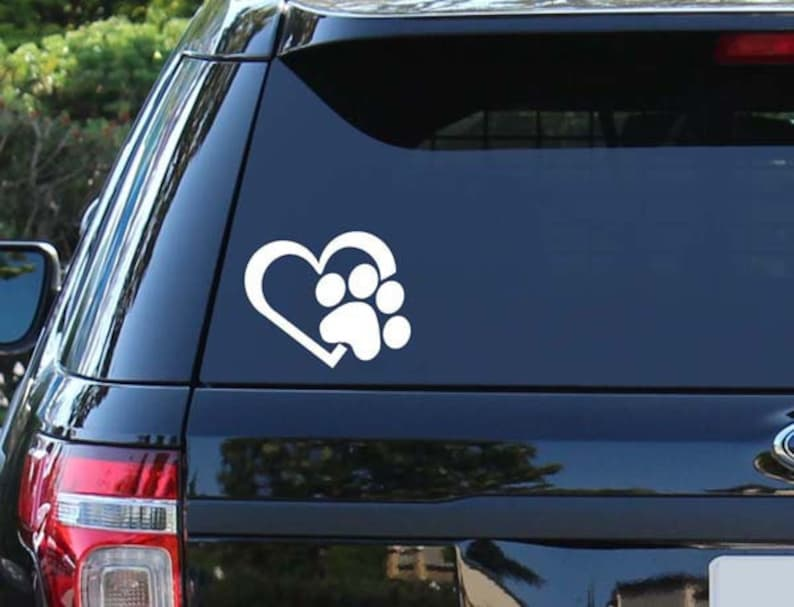 Heart & Paw Decal  Paw Print  Paw Sticker  Heart  Pet  image 0