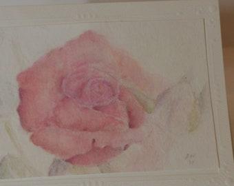 Rose watercolor art Original watercolor painting flower 8.2x8.2 by GugulyArt