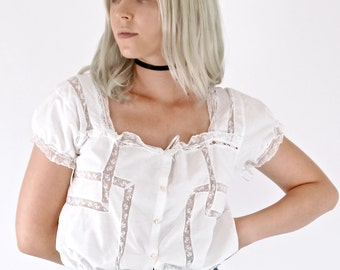 Beautiful Antique Victorian Romantic White Lace Cotton Camisole Blouse Top