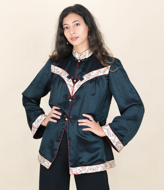 1930s Black Silk Oriental Gold Embroidered Jacket