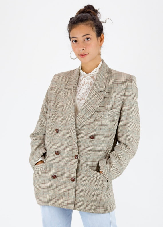 1980s Double Breasted Tweed Check Oversized Blazer