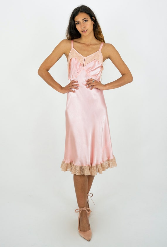 1930's Pink Satin and Lace Boudoir Slip Dress and