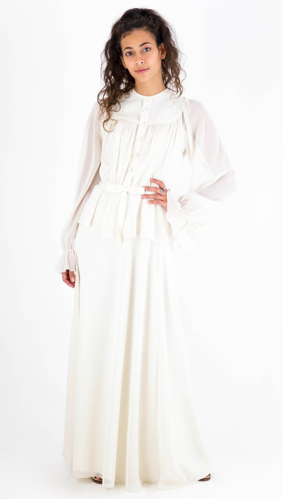 1970's Cream Poet Sleeve Satin Bow Front Maxi Dres
