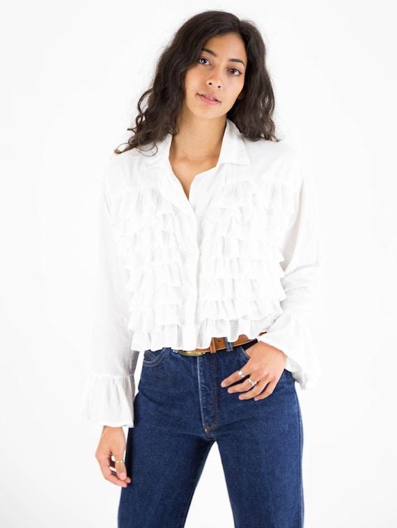 1990s White Cotton Multi Ruffle Front Blouse - image 8
