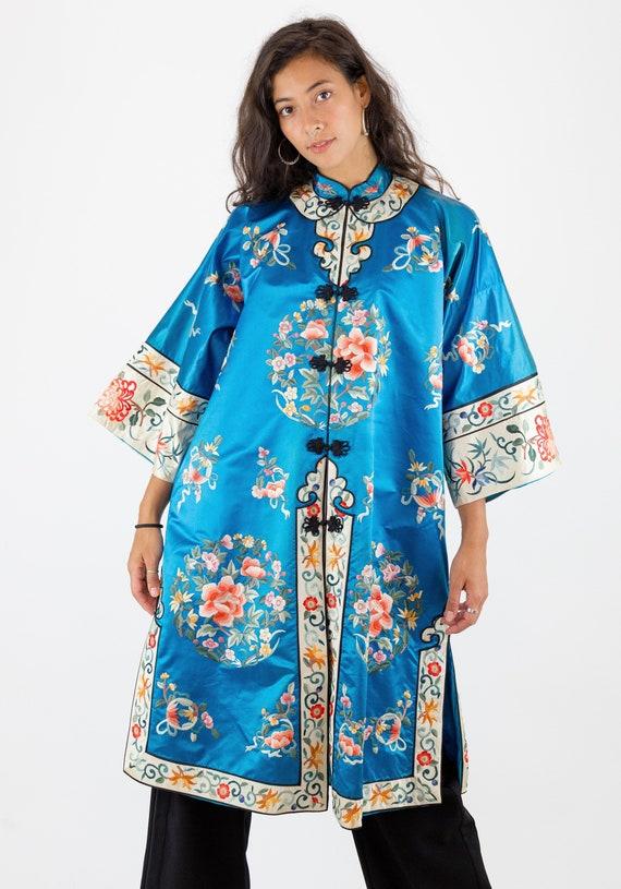 1960s Embroidered Silk Oriental Floral Kimono Coat