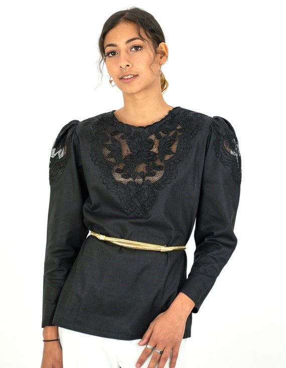 1980s Black Embroidered Floral Cutwork Puff Sleeve
