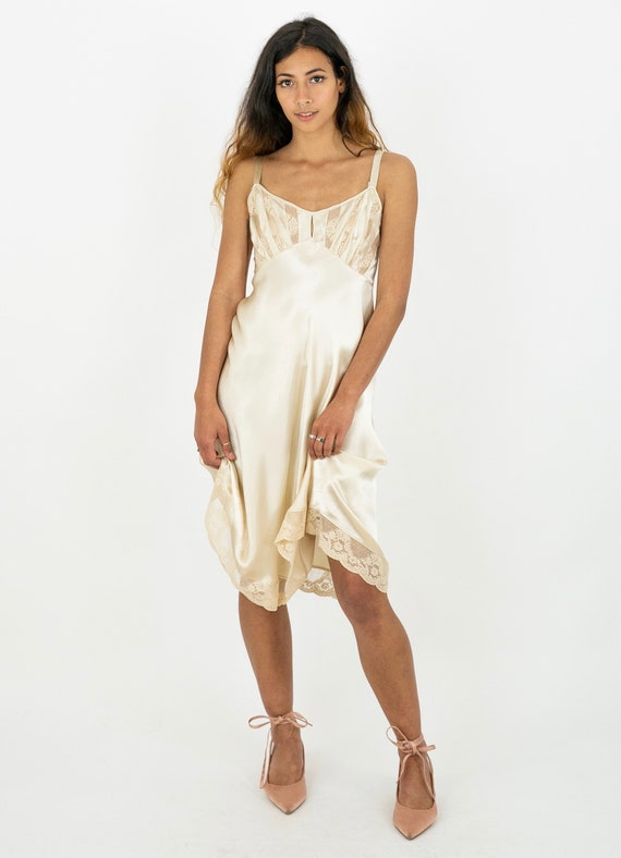 1930's Cream Satin and Lace Boudoir Slip Dress