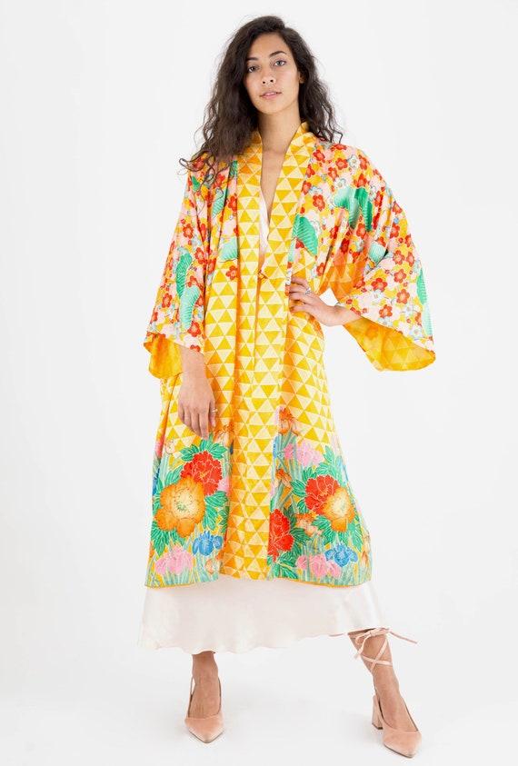 1930s Silk Oriental Floral Bohemian Boudoir Kimono