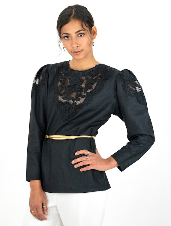 1980s Black Embroidered Floral Cutwork Puff Sleev… - image 5